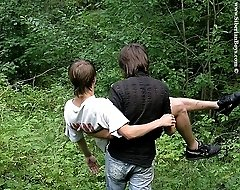 Two sexy Russian twinks getting a leg over outdoors
