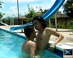 Hunky guy gets creamed by the pool