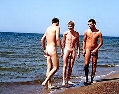 Three naked boys nailing each other from behind at a deserted beach