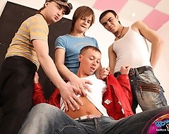 Hot pics with twink fucked by 3 queer lads